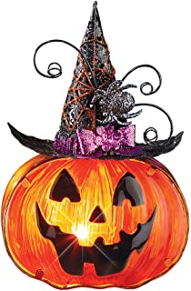 Collections Etc Glass Jack-O-Lantern in Witches Hat Accent Lamp with Purple Bow and Spiders on The Hat
