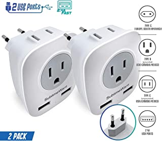 Germany Asia 2-Outlets For US Type A B G L E//F I Europe Italy Spain Japan China France Justcool Universal Power Plug Adapter With 3-USB Ports UK World Travel Adapter Kit
