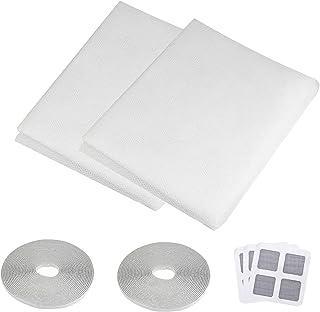 2 stuks klamboe voor venster, zelfklevend raamgaas insectenbescherming, muggennet, verstelbaar, doe-het-zelf gaasvenster z...