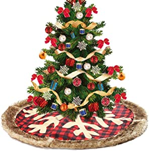 bulrusely Etra Taille Arbre De Noël Jupe en Peluche Arbre Réglable Jupe avec Ruban Rouge Traditionnelle Décoration De Noël Maison Ornements 90 cm Attractive