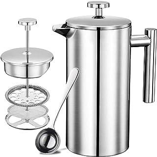 フレンチプレス エアロプレ スポータブルコーヒー プレス フレンチプレスコーヒーメーカー ステンレス 二重構造 銀 (750ml) …