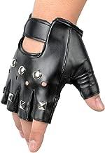 Ogquaton Gants en Cuir cloutés rétro avec Goujon en Cuir sans Doigts Gants de Costume de Performance Punk Gothiques (Noir)