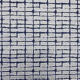 Tela loneta reciclada twill - Reciclado de jeans, vaqueros - 98% algodón reciclado, 2% otras fibras (72% GRS) - Retal de 100 cm largo x 280 cm ancho | Geométrico rectángulos - Azul, gris ─ 1 metro