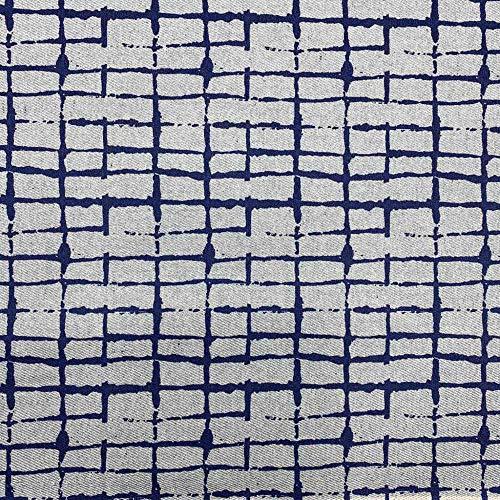 Tela loneta reciclada twill por metros - Reciclado de vaqueros - 98% algodón reciclado, 2% otras fibras (72% GRS) - Ancho 280 cm - Largo a elección de 50 en 50 cm | Geométrico rectángulos - Azul, gris