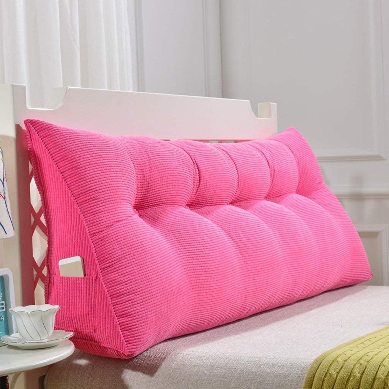 DENGDAI Coussin de tête de lit rembourré à la Taille, Amovible et Lavable, MultiCouleure en Option,rose,150  50cm