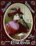 Coke - Victorian Red Dress Coca Cola Classic Old Fashioned Vintage Advertising Metal Tin Sign 8x10