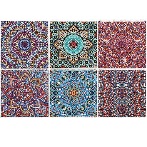 Flanacom Design Untersetzer im 6er Set – Dekorative Keramik Untersetzer für Glas, Tassen, Vasen, Kerzen und Töpfe auf ihrem Esstisch - Premium Boho/Orientalisch Design (6er Set Eckig)
