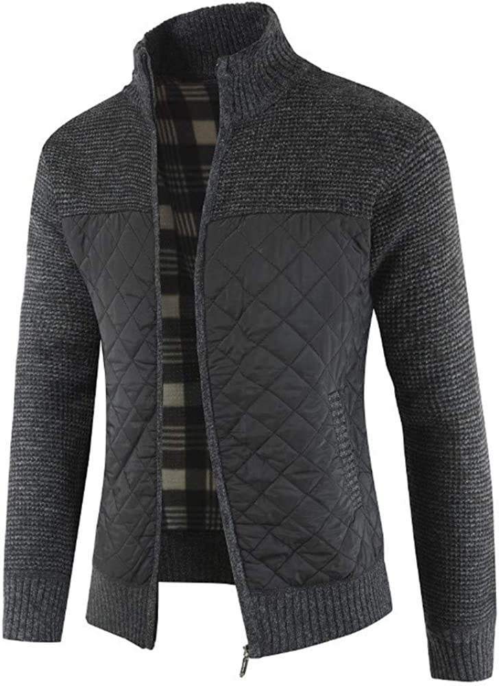 ZZOU Mens Knitted Cardigan Sweater Full Zip Warm Fleece Coat Casual Slim Fit Down Knit Jacket Front Stand Collar Knitwear Pullover Cotton Blend Plain Colour Elegant Business Work Everyday
