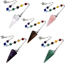 Top Plaza 7 Chakra Reiki Healing Crystal Dowsing Point Pendant Divination Metaphysical Spiritual Chakra Balancing Pendulum(Set of 5)