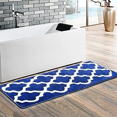 Moroccan Patten Extra Long Bathroom Rug, Uphome Microfiber Washable Non-slip Soft Absorbent Decorative Bath Mats Runner Floor Mat Carpet (18  W x 48  L, Navy)