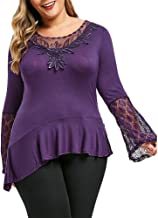 Leomodo Women Round Neck Plus Size Lace Insert Bell Sleeve Fashion T-Shirt