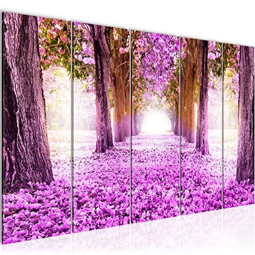 Bilder Wald Landschaft Wandbild 150 x 60 cm Vlies - Leinwand Bild XXL Format Wandbilder Wohnzimmer Wohnung Deko Kunstdrucke Violett 5 Teilig - MADE IN GERMANY - Fertig zum Aufhängen 605656b