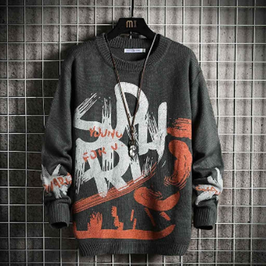 ZYING Men's Sweaters Spring Autumn Winter Clothes Pull Oversize Korea Style Casual Standard Pullovers (Color : Gray)