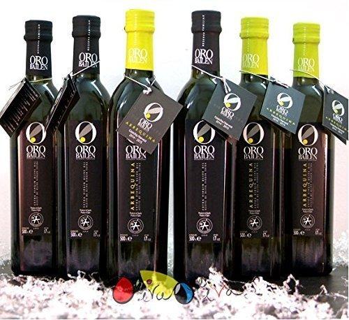 6 Glasflaschen (3 Picual + 3 Arbequina) - Premium Olivenöl Oro Bailén Familienreserve - Olivenöl Extra Vergine