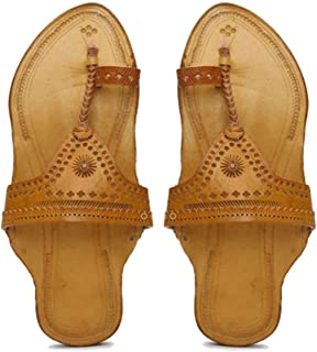 KALAPURI� Womens Kolhapuri Chappal in Genuine Leather with Brown Pointed Shape Base and Traditional Brown Upper. Handmade ...