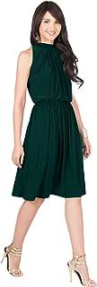 KOH KOH Womens Sleeveless Halter Neck Flowy Work Knee Length Day Sexy Midi Dress