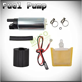 MUCO New 1pc Genuine 255LPH High Flow OE Upgrade Performance Electric Gas Intank EFI Fuel Pump With Strainer/Filter + Rubber Gasket/Hose + Stainless Steel Clamps + Universal Connector Wiring Harness