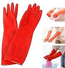 Lesirit Waterproof Household Gloves Long Sleeve Fleece Cuff Latex Cleaning Gloves from, 2 Pair Pack (B)