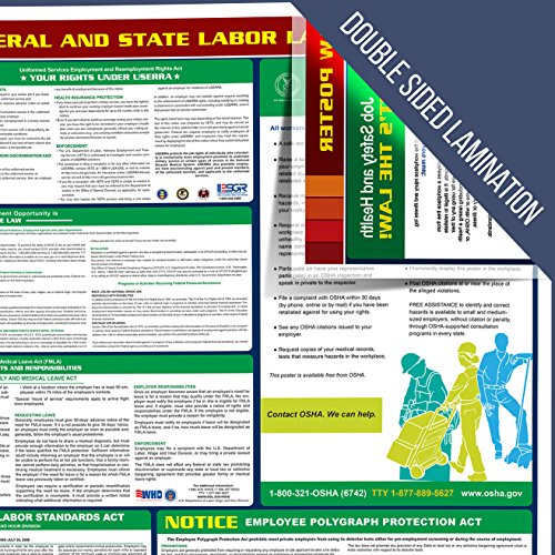 """Compliance Assistance - 2020 California State and Federal All-in-one Labor Law Poster - Laminated 24""""x40"""" (English) Photo #5"""