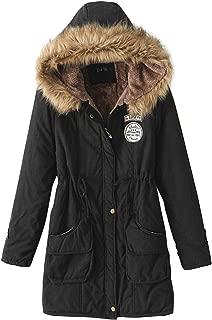 Z&I Teenager Girls Winter Outdoor Parka Coat Fur Trim Hooded Long Jacket Thicken Lambswool Lined Outwear
