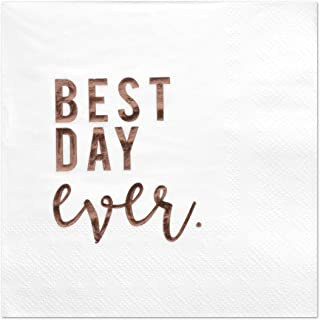 Andaz Press Best Day Ever, Funny Quotes Cocktail Napkins, Rose Gold Foil, Bulk 50-Pack Count 3-Ply Disposable Fun Beverage Napkins for Engagement Party, Bridal Shower, Wedding Reception Bar