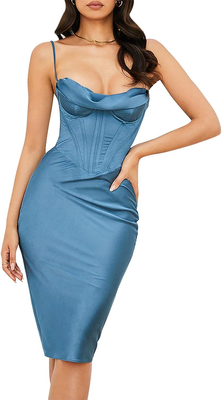 Fishbone Halter Dress Women Neon Satin Bodyco Sexy Las Vegas Mall All items free shipping Long Backless