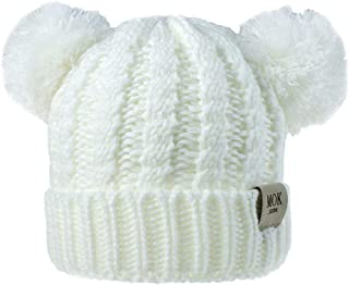 TOTOD Baby Beanie Earflaps Hat - Infant Toddler Girls Boys Soft Warm Knit Cap with Hairball Ear, Kids Costume Hat
