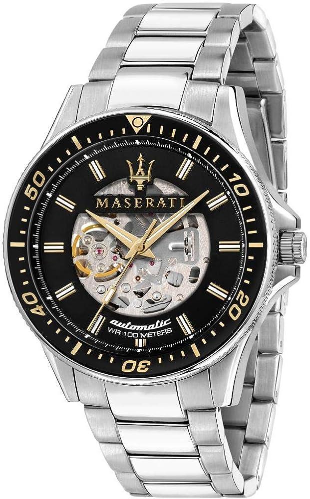 Maserati orologio da uomo, collezione sfida, in acciaio, con cinturino 8033288894681