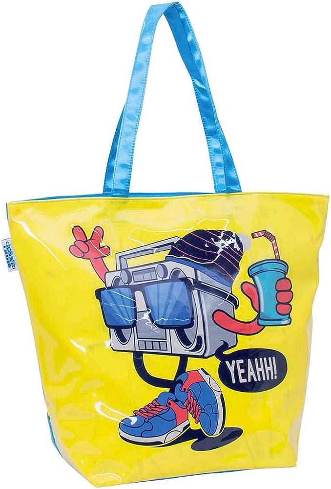 Enrico coveri, borsa da mare per donna, con stampa effetto lucido, gialla