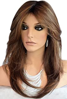 Auflaund Natural Straight Dark Brown Wig Side Part Long Daily Use Hair Wigs with Natural Wave for Women Stunning Heat Resistant Fiber Hair Wig Up to 150 Degree 22 Inches (HST33#/30#)