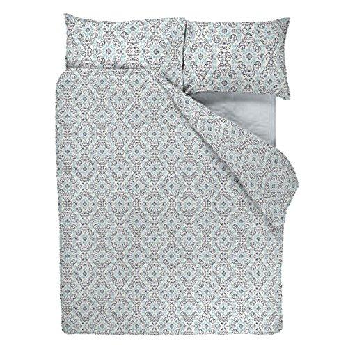 SASA CRAZE Bedding Poly Cotton Duvet Cover Set with 2 Pillowcases, Double - Tiago Indigo