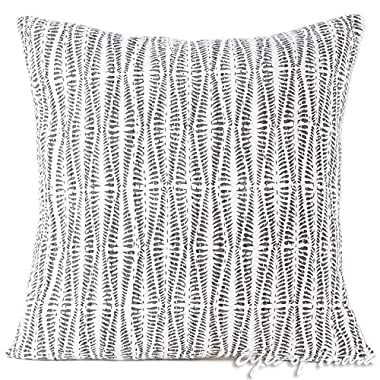 Eyes of India 24  Grey Printed Kantha Colorful Throw Couch Sofa Pillow Cover Cushion Boho Indian Bohemian