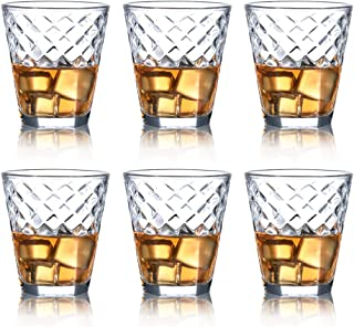 Whiskey Glass Set of 6-10 oz Lead Free Crystal Old Fashioned Glass, Cocktail Cool Rocks Glass Tumbler for Bourbon, Irish Whisky, Brandy and More, Scotch Glasses