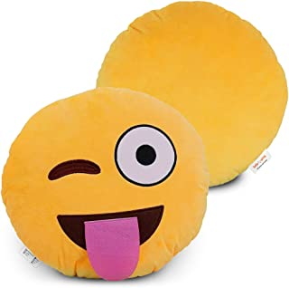 BRITENWAY Emoji Pillow (Sticking Tongue w' Winking) Cartoon Wink Face - Yellow Stuffed Cute Soft Plush- Set of All Collection - Perfect Fun Item - All Ages - House, Living Room, Sleep Bedroom