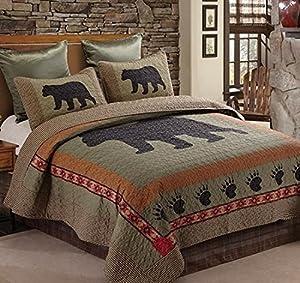 3pc Lodge Bear Paw Quilt Set