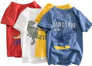 Camiseta para Niños Pack de 4 T-Shirt Manga Corta Dinosaurio de Dibujos Animados Impresión Algodón Tops Trajes de Verano