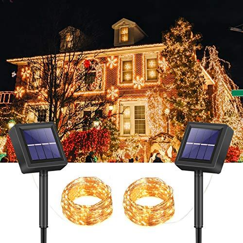 PATOMOS 2 Stück Solar Lichterkette Außen, 15m 150 LED Solar Lichterketten, 8 Modus Solarlichterkette für Garten, Balkon, Hochzeit, Party(Warmweiß)
