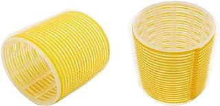 بكرة شعر فيلكرو صفراء، أداة تصفيف شعر ناعمة ببكرة تجعيد الشعر، 63 مم × 6