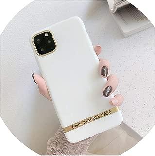 芸術的なgate大理石電話ケースiphone 11 XS XR XS最大6 6S 7 8プラス光沢のあるソフトシリコンケースゴールドバー裏表紙capaギフト、iphone 7、ホワイト