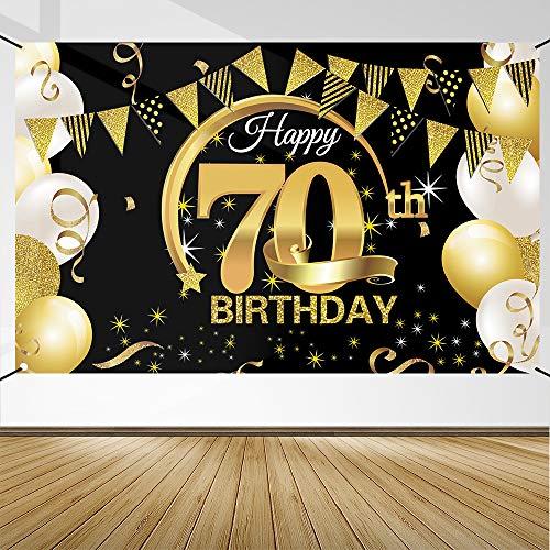 70 Geburtstag Dekoration Schwarz Gold, 70 Geburtstag Banner, 70 Geburtstag Party Dekor für Frau Mann, 70 Jahrestag Hintergrund Banner, Extra Große Stoff Schild Poster zum 70, Geburtstag Party Deko