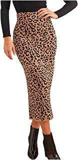 Ladies Autumn Winter Fashion Sexy Empire Waist Leopard Print Slit Mid-Calf Skirt Evening Party Pencil Skirt