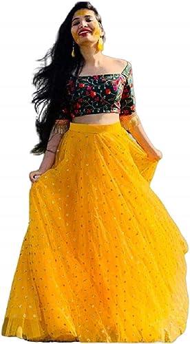 Women s Tissue Semi stitched Lehenga Choli yellow bindu Yellow Free Size