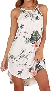 TOPUNDER Summer Boho Short Mini Dress for Women Evening Party Beach Dresses Sundress