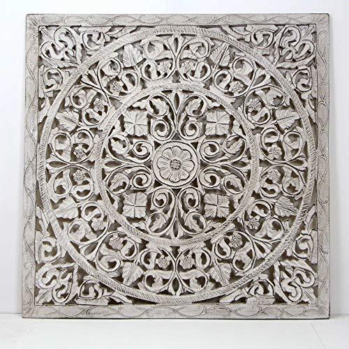 Mandala de Pared, Fabricada artesanalmente en España- tamaño 80x80 cm, Modelo GR94. Forma Cuadrada (Blanco Envejecido)