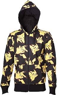 Pokemon Hoodie Pikachu All Over Print Logo Official Mens Black Zipped