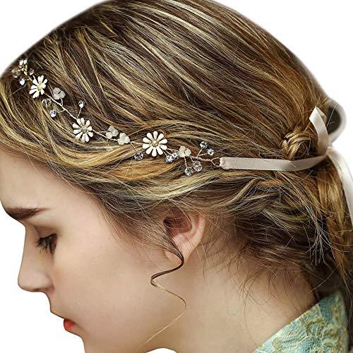 Lareina.C Vintage Haarband Stoff Blume Stirnbänder Braut Haarschmuck Hochzeit Kopfschmuck (Gänseblümchen)
