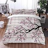 Mingdao Bedding Juego de Funda de Edredón -Flores de Cerezo Sakura Flor en tablón de Madera rústico japonés Floral/Microfibra Funda de Nórdico (Cama 220 x 240 cm + Almohada 50X80 cm)