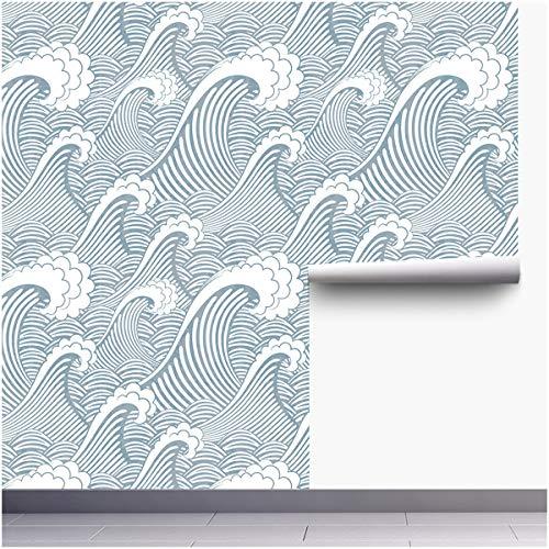 Ancoree Peel and Stick Abnehmbare Tapete Wellenmuster, Selbstklebende Tapete,Verwendung als Wandpapier, Kontaktpapier oder Regalpapier 45cm x300cm Rollen (K)