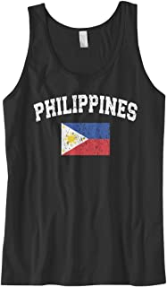 Cybertela Men's Faded Distressed Philippines Flag Tank Top