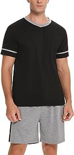Aibrou Mens Short Pyjama Set Cotton Men Pjs Set Summer V Neck Splicing Color T-Shirt Top & Shorts Lounge Sleepwear Nightwe...